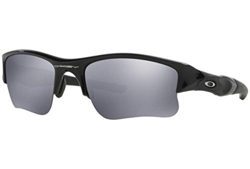 Oakley, Occhiali da sole Flak XLJ, Bianco lucidato, lenti Nero iridium, 63