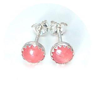 Rhodochrosite Stud Earrings in Sterling Silver