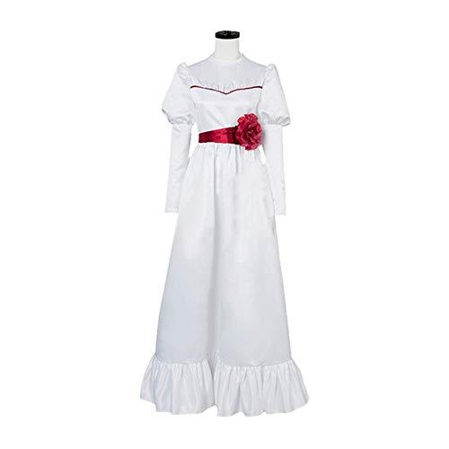 GGOODD Horrorfilm Annabelle Cosplay Kostüm Halloween Damen Weißer Langer Rock Abendkleid Mit Rote Taillendichtung,Weiß,L
