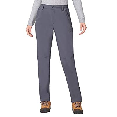 CAMEL Women's Hiking Pants Fleece Lined Insulated Softshell Pants Waterproof for Outdoor Mountain Snow Hunting Trousers