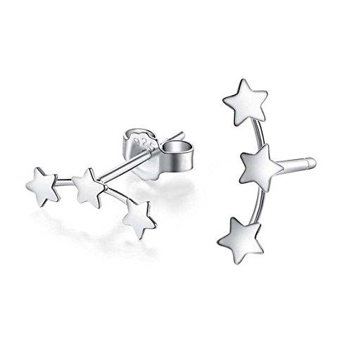 iszie jewellery sterling silver ladies fashion mini triple stars earrings