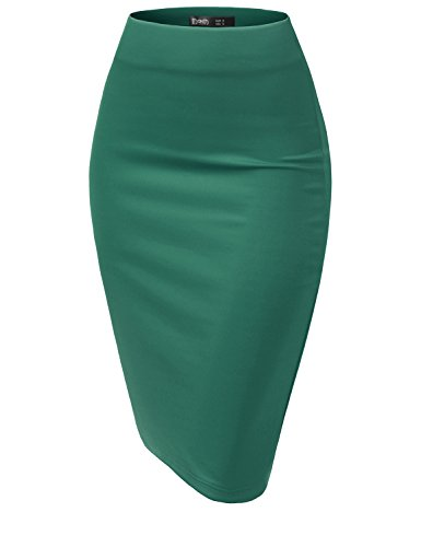 TWINTH Women's Elastic Waist Stretch Bodycon Midi Pencil Skirt Jade L