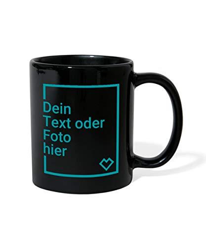 Spreadshirt Personalisierbare Tasse Selbst Gestalten mit Foto und Text Wunschmotiv Tasse einfarbig, Schwarz