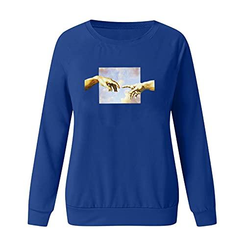 T-shirts voor dames, damesblouses, dames casual lange mouwen print pullover sweatshirt tops blouse, T-shirts dames, donkerblauw, M