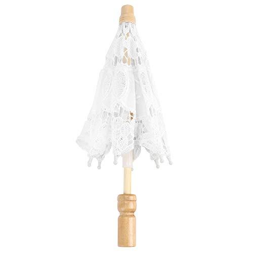 SALUTUY Hochzeitsmaterialien, Holzgriff Handwerk Regenschirm Home Supplies für Dekoration Zuhause für Hochzeiten Feiern (weiße Trompete, blau)