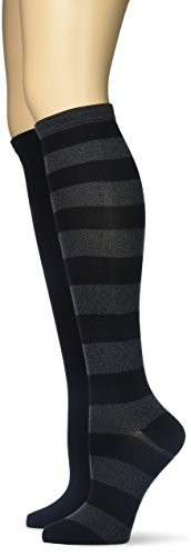 K. Bell Women's Soft and Dreamy 2 Pack Knee High, Black Marl Rugby Stripe, 9-11