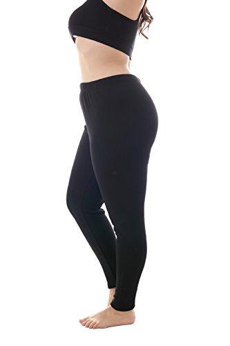 ZERDOCEAN Women's Plus Size 100% Cotton Fleece Lined Thermal Full Length Leggings