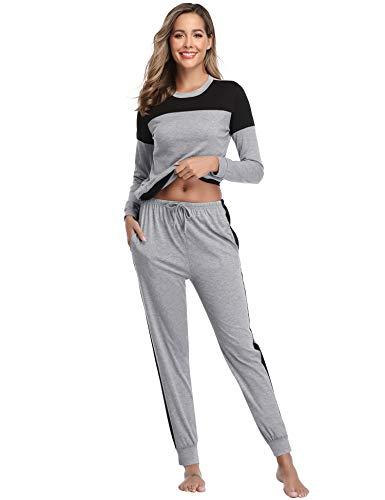 Sykooria Pigiama Donna,2 Pezzi Camicie da Notte Estivi Donna Lungo Top e Pantaloni a Manica Lunga
