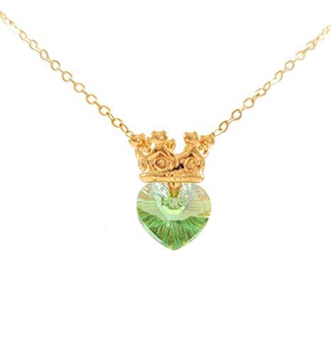 Princesa Tiana – Collar de Princesa Corona con Corazón Swarovski Peridoto – Princess Crown Necklace with…