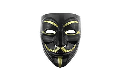 Udekit Hacker Maske V für Vendetta Maske für Kinder Frauen Männer Halloween Kostüm Cosplay (Schwarz Einer Stück)