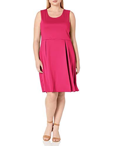 Star Vixen Women's Plus-Size Sleeveless Box-Pleat Skater Dress, Fuchsia, 2X