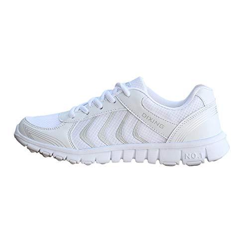 Zapatillas Deportivas Transpirables para Mujer Zapatos Casuales Ligeros de Malla Ligero Parejas con Cordones Zapatillas Deportivas para Correr Fitness riou