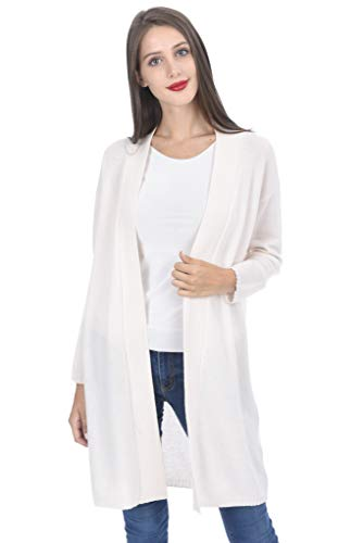 State Cashmere Women's Open Front Long Cardigan 100% Cashmere Straight Hem Oversized Sweater-Coat (Medium, White)
