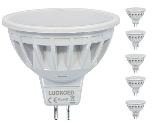 Mr16 LED Lampe Dimmbar 12VDC Ersetzt 50W Gu5.3 Halogen Warmweiss 2700K 500-550lm LUOKOED® 5er Pack