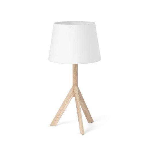 FARO BARCELONA 28408 - Hat Sobremesas y lámparas de pie, 40W, Madera y Pantalla de Tela, Color Blanco (Bombilla no incluida)