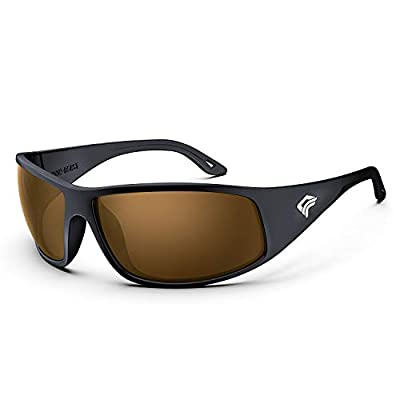 TOREGE Polarized Fishing Sunglasses for Men and Women Driving Running Golf Sports Sunglasses TR28 (Bright Black Frame &Brown Lens)