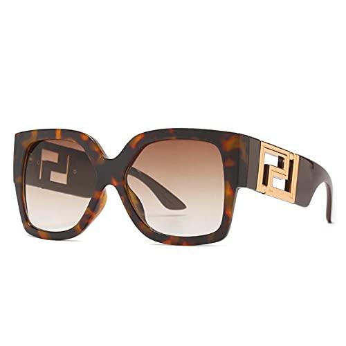 AMFG Caja Moda Gafas de sol Grandes Marco Mujer Hombres Tendencia Retro Gafas de Sol Al Aire Libre Viaje Playa Conducción Mirror (Color : B)
