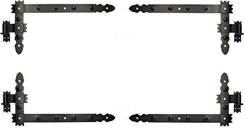KOTARBAU® Winkelband 800 x 300 mm mit Kloben 2 Paar Fensterladenband Winkelscharnier Türband Torband Schwarz Pulverbeschichtet Fensterband Baubeschlag