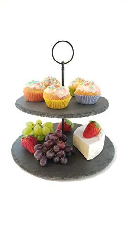Schiefer Etagere 2-stöckig mit praktischem Tragegriff in schwarz - 25/20 cm rund 24 cm hoch - Servierplatten für Dessert, Käse und Obst - Servierständer aus 2 Schieferplatten