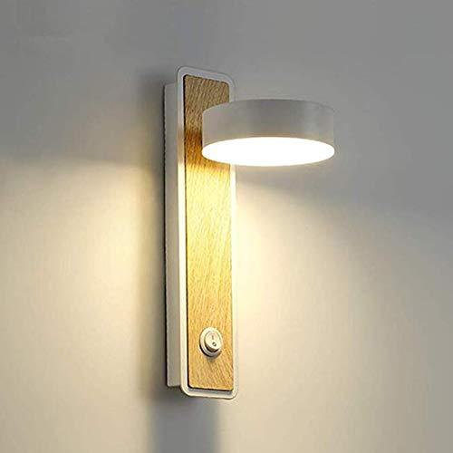 Dongbin LED-Lesewandleuchte, Wandleuchte aus Holzmaserung, Wohnzimmer, Hotelgangschlafzimmer, drehbare Nachttischlampe, einstellbares warmes 360-Grad-Licht,A