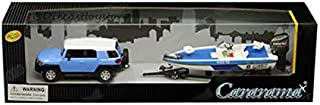 New DIECAST Toys CAR CARARAMA 1:43 Toyota FJ Cruiser (Blue/White) with Trailer and Speedboat (Blue/White) 48116