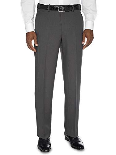 Paul Fredrick Men's Microfiber Herringbone Flat Front Pant Grey 37 PMP550L