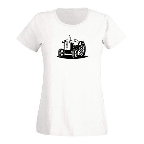 T-Shirt Traktor Oldtimer Trecker Landmaschinen Bauer 15 Farben Damen XS - 3XL Claas Fendt Deutz Landwirtschaft Landtechnik Unimog, Größe:S, Farbe:Weiss - Logo schwarz