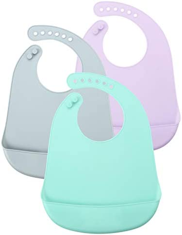 PandaEar Pack 3 Multicolor Super Thin Light Weight Silicone Baby Feeding Bibs Babies Toddlers product image
