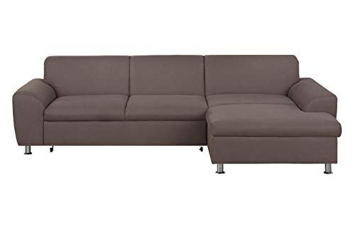 DOMO Collection Ecksofa Moonlight / L-Form / Größe: 278 cm x 164 cm x 80 cm (BxTxH) / Bezug: Microfaser in mud / modernes Ecksofa mit Recamiere