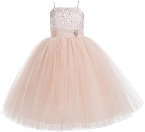 Rhinestone Tulle Tutu Flower Girl Dress Ball Gown Toddler Girl Dresses 189 8 Blush Pink product image