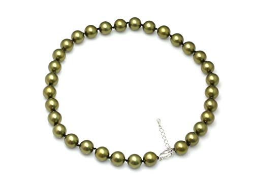 Schmuckwilli Südsee Tahiti Damen Muschelkernperlen Perlenkette aus echter Muschel champagne 45cm 12mm mk12mm141-45