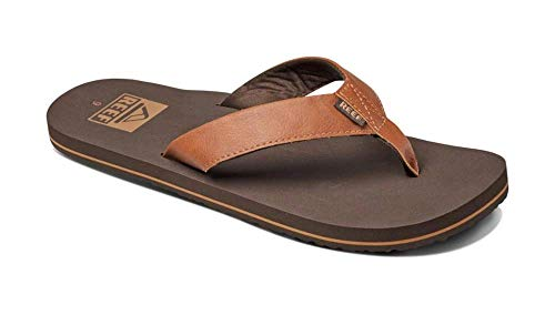 Reef Men's Sandal Twinpin | Comfortable Men's Flip Flop With Vegan Leather Upper, Brown, 10