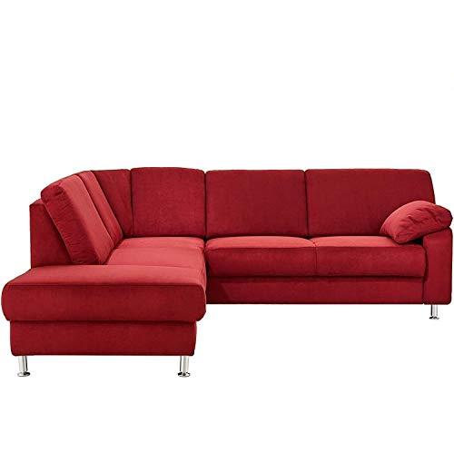 Cavadore Ecksofa Belfast mit Federkern / Eckcouch mit Vorziehsitz und Bettkasten im modernen Design, Mikrofaser rot, 243 x 88 x 218 cm