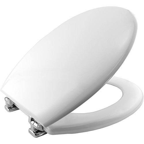 Bemis 4100CP000 NEW YORK Formholz WC-Sitz mit verchromten Scharnieren, Weiß