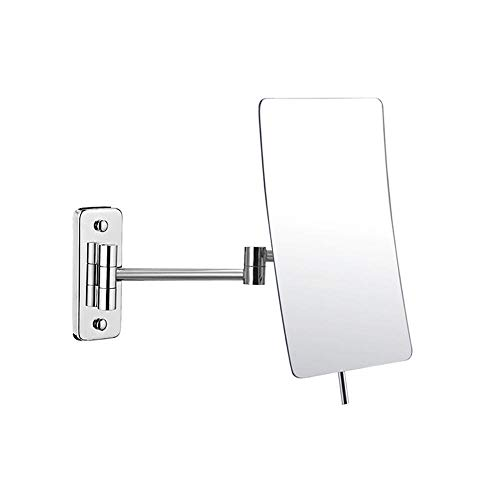 BEI&YANG Baño Montado En La Pared Espejo Aumento Triple Espejo De Maquillaje De Doble Cara Espejo Telescópico Plegable Hotel De 8 Pulgadas Espejo De Belleza@Fondo Cuadrado