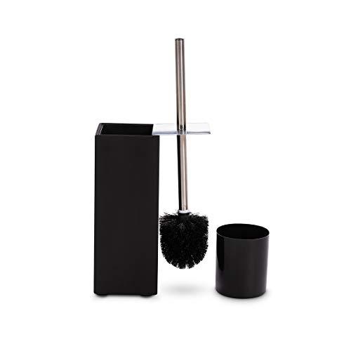 GOBAM Bamboo Toilet Bowl Brush and Holder, Deep Cleaning Non-Slip Base, Black