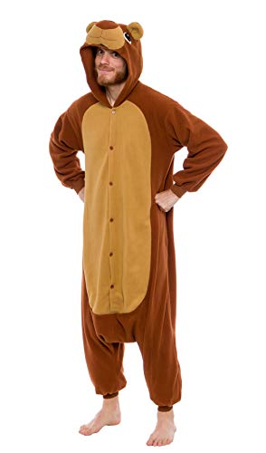 Silver Lilly Unisex Adult Pajamas - Plush One Piece Cosplay Teddy Bear Animal Costume (Brown, Small)