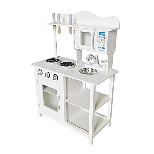 ATAA Cocina de Madera para niños con Accesorios - Blanco - Cocinita de Juguete para niños y niñas