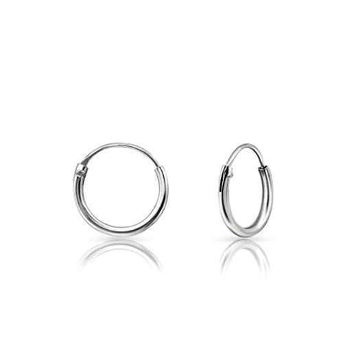 DTPsilver - Damen - Klein Creolen -Ohrringe 925 Sterling Silber - Helix/Tragus/Knorpel - Dicke 1.2 mm - Durchmesser 10 mm