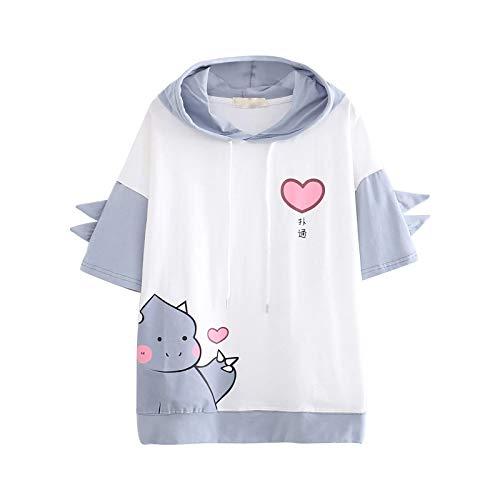 Sudadera de manga corta con capucha para mujer, adolescente, niña, suave, cómoda, blusa con cordón y media manga