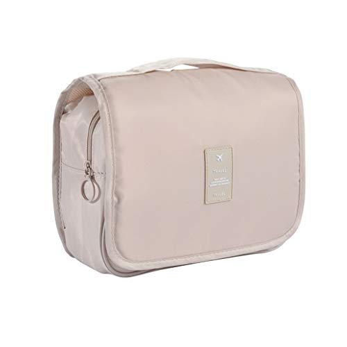 Maquillage Voyage Sac Portable Wash Sac étanche Trousse de Maquillage Hangable cosmétiques Housse Organisateur Toiletry (Color : Beige)