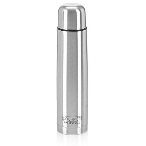 GOURMEO Isolierflasche aus rostfreiem Edelstahl (1,0 l), doppelwandig mit Druckknopf-Verschluss | Thermosflasche, Thermos Edelstahlflasche, Thermoskanne