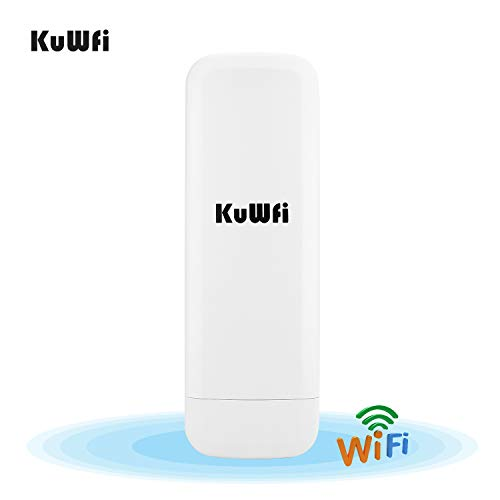 300 Mbps Wireless WiFi Repeater, KuWFi Waterdichte Outdoor CPE 3 KM Draadloos toegangspunt AP lange afstand externe CPE POE-adapter en 15dbi antenne Lange afstand LED-display Versie-update