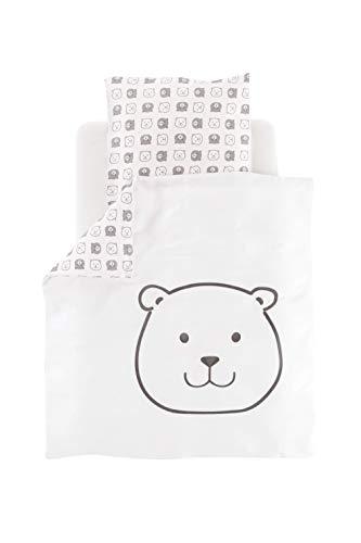 Träumeland TT19103 - Juego de cama infantil (algodón, funda de almohada de 80 x 80 cm y funda de almohada de 35 x 40 cm), diseño de oso pequeño, multicolor