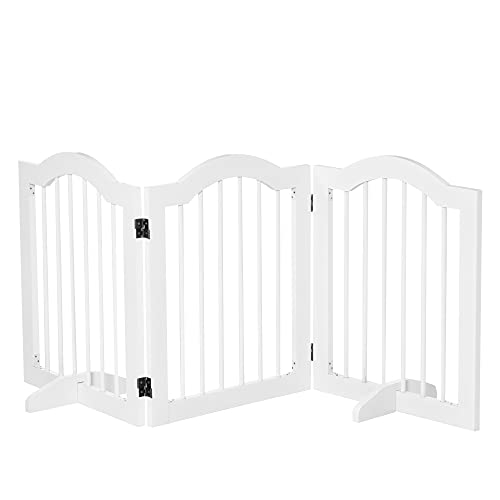 Pawhut Barrera de Seguridad Plegable para Perros Pequeños Rejilla de Protección de 3 Paneles con Patas para Mascotas para Escaleras Pasillos 154,5x29,5x61 cm Blanco