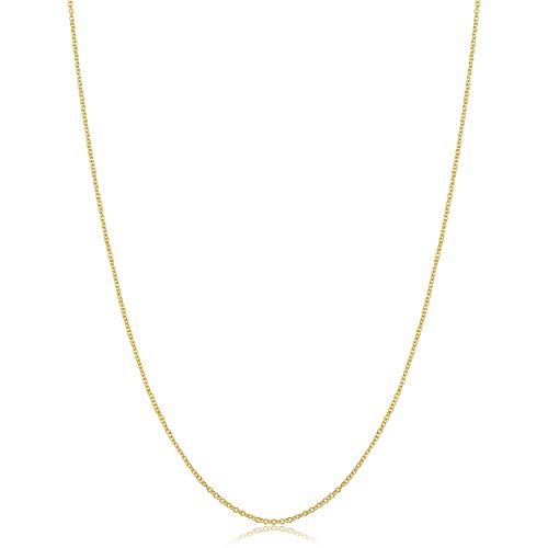 14k Yellow Gold Filled Cable Pendant Chain Necklace (1 mm, 14 inch)