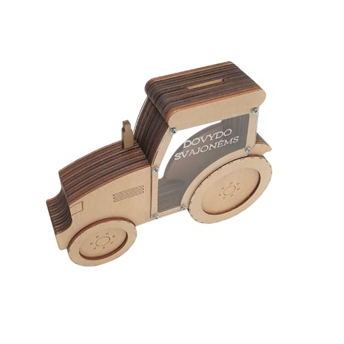 Personalized Money Piggy Bank for Kids and Aduls - Tractor- Wooden Coin Box, Money, Tips Jar