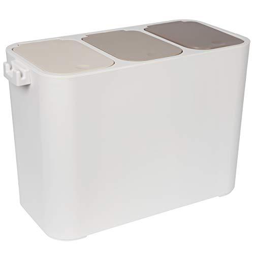ONVAYA® Mülltrennsystem | Mülltrennung mit Mehreren Fächern | Mülleimer in Creme-weiß | Abfalleimer für Küche & Bad (27L)