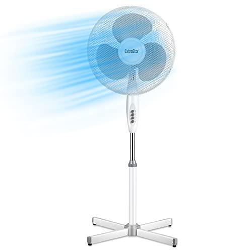 Ventilador de pie, 40 W, metal/ABS, diámetro 40 cm, 3 aspas, 3 velocidades, oscilación e inclinación ajustable, color blanco