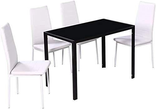5 piezas de mesa de comedor artificial y silla de cocina, mesa de cocina, mesa de comedor y mesa de mesa, hecha de vidrio templado fácil de limpiar,Nero E Bianco